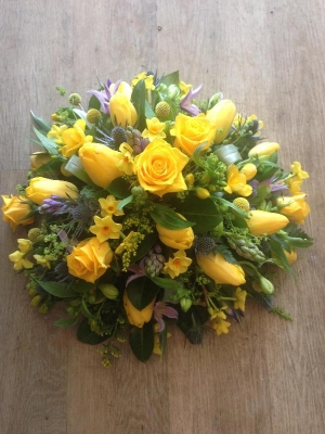 yellow posy with hints of blue