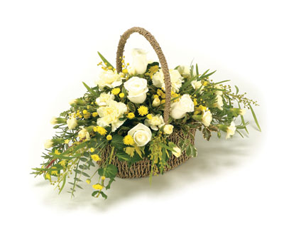 Funeral Basket   Yellow and White